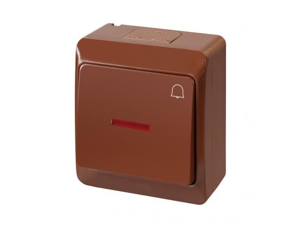 HERMES włącznik ''dzwonek' podświetlany brązowy hermetyczny