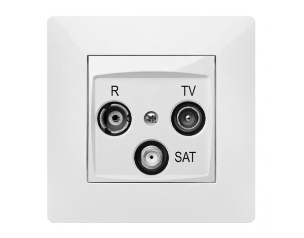 VOLANTE gniazdo R-TV-SAT 10dB przelotowe z ramką