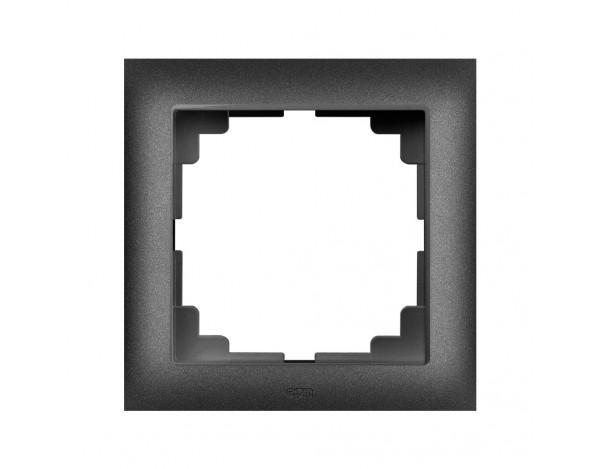 SENTIA ramka uniwersalna pojedyncza czarny metalizowany