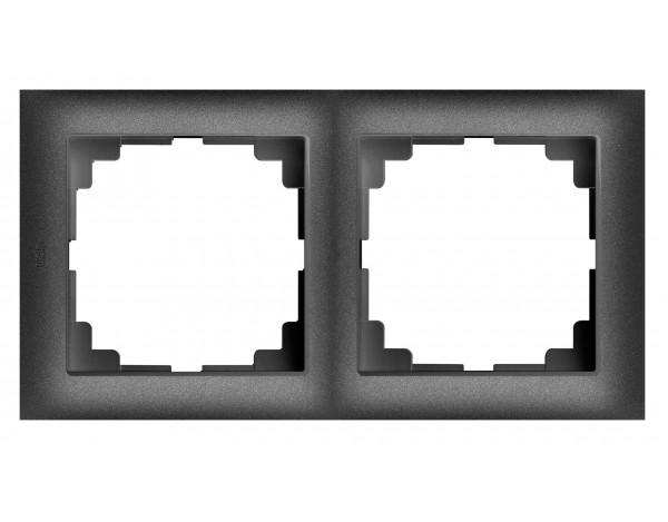SENTIA ramka uniwersalna podwójna czarny metalizowany