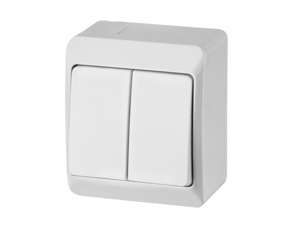 HERMES włącznik świecznikowy biały hermetyczny